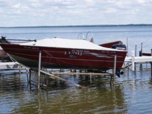 Boat on the lake at Red Lantern Resort.