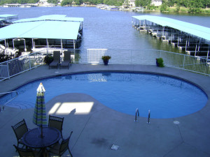 Vacation rental pool and marina at Your Lake Vacation/Al Elam Property Management.
