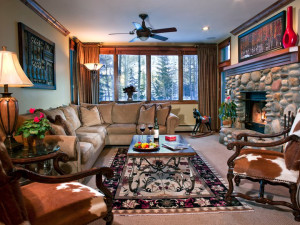 Guest living room at East West Resorts Beaver Creek.
