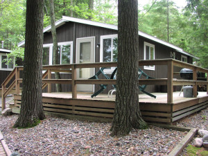 Cabin exterior at White Birch Village Resort.