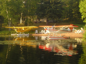 Sea planes at Golden Rule Resort.
