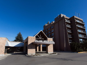 Exterior view of Village Green Hotel & Casino.