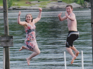 Jumping in the lake at Cedarwood on Lake Muskoka.