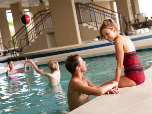 Family by the pool at North Beach Plantation.