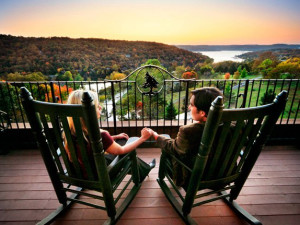 Relaxing on deck at Big Cedar Lodge.