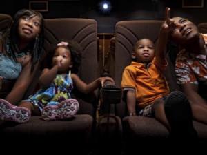 Kids watching movie at Westgate Vacation.