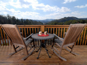 Cabin deck view at Fireside Chalets & Cabin Rentals.