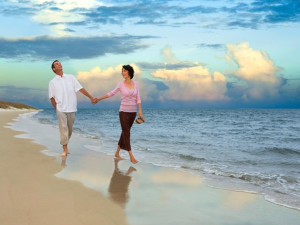 Romantic stroll on beach at The Villas of Amelia Island Plantation.
