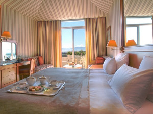 Guest room at Domaine de Divonne.