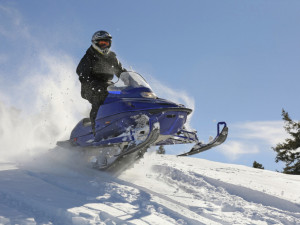 Snowmobiling near Tsasdi Resort.