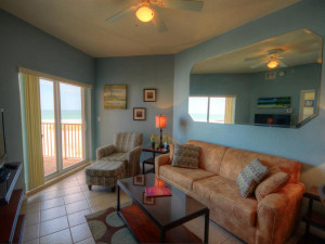 Rental living room at Sunsational Beach Rentals. LLC.
