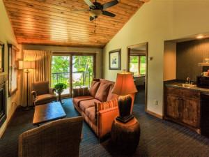 Cabin living room at Madden's on Gull Lake.