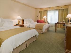 Guest room at Renaissance Dallas North Hotel.