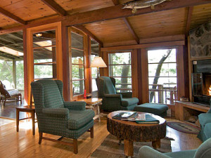 Cabin living room at Ludlow's Island Resort.