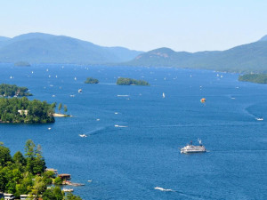 Aerial view of lake at Marine Village Resort.