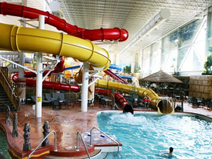 Indoor waterpark at Kalahari Waterpark Resort Convention Center.