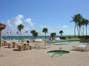 Outdoor pool at Costa Del Sol Resort Condo.