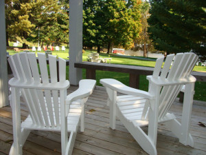 Patio at Port Cunnington Lodge.