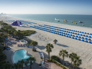 Beach front view at TradeWinds Island Grand.