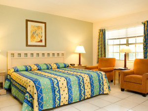 Guest bedroom at Carriage House Resort Motel.