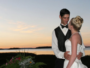 Wedding couple at Drummond Island Resort.
