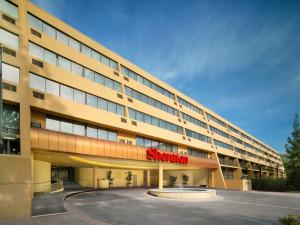 Exterior view of Sheraton Pasadena Hotel.