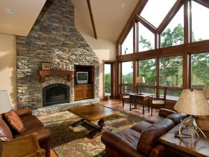 Vacation rental living room at Wintergreen Resort.