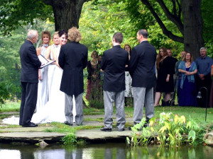 Wedding ceremony at West Hill House B&B.
