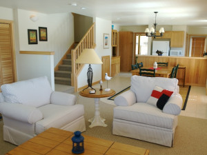 Rental living room at Shorepine Vacation Rentals.