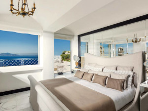 Guest room at Capri Palace Hotel and Spa.