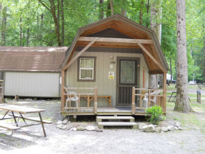 Cabin exterior at Yogi Bear's Jellystone Resort Cherokee.