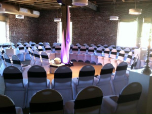 Wedding with a spiral aisle at Craddock Terry Hotel.