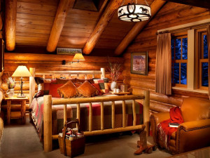 Guest room at Averill's Flathead Lake Lodge.