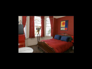 Guest room at Hotel Mirabelle.