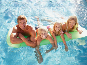 Family swimming at Golden Horseshoe Resort.