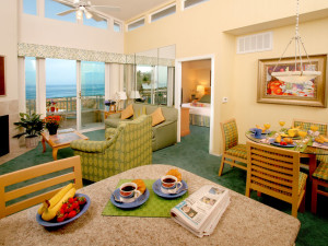 Living Room of a One Bedroom Unit at the Carlsbad Seapointe Resort