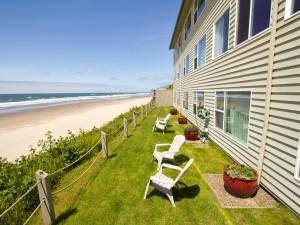 Beach view at Pelican Shores Inn.