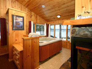 Cabin interior at Gunflint Lodge.