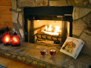 Cabin fireplace at Black Bear Cabin Rentals.