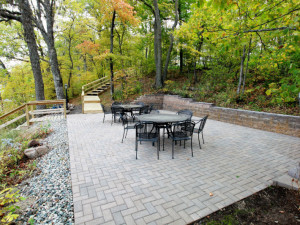 Outdoor patio at East Silent Lake Vacation Homes.