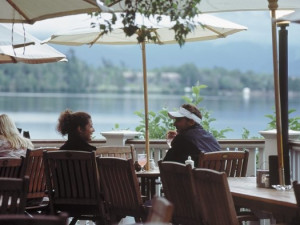 Deck dining at Mirror Lake Inn Resort & Spa.