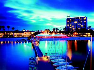 Exterior Evening View at Catamaran Resort