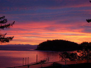 Sunset at Mayne Island Resort and Spa.