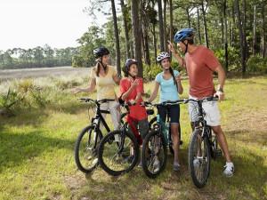 Family biking at Put-in-bay Condos.