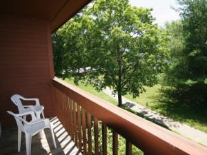 Balcony view at Fireside Inn & Suites at Lake Winnipesaukee.