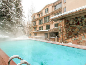 Outdoor heated pool at The Galatyn Lodge.