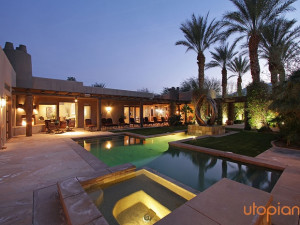 Rental outdoor pool at Utopian Palm Springs Vacation Homes.