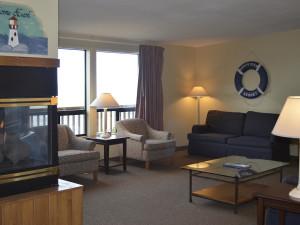 Beach house living room at Surfrider Resort.