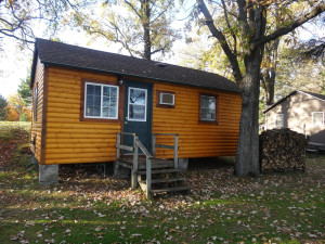 Exterior view of cabin at Twin Oaks Resort & RV Park.