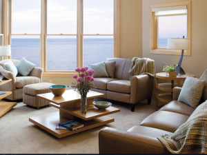 Vacation rental living room at Surfside on Lake Superior.